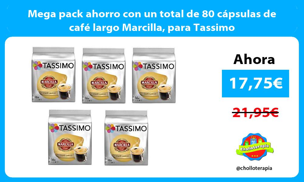 Mega pack ahorro con un total de 80 cápsulas de café largo Marcilla para Tassimo