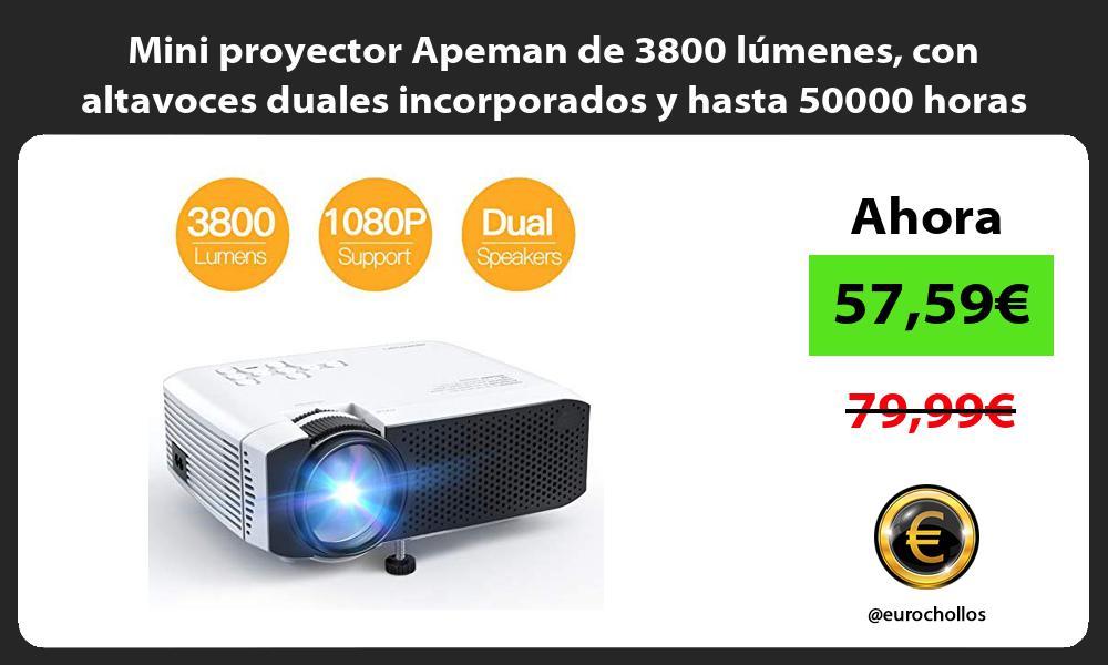 Mini proyector Apeman de 3800 lúmenes con altavoces duales incorporados y hasta 50000 horas de uso