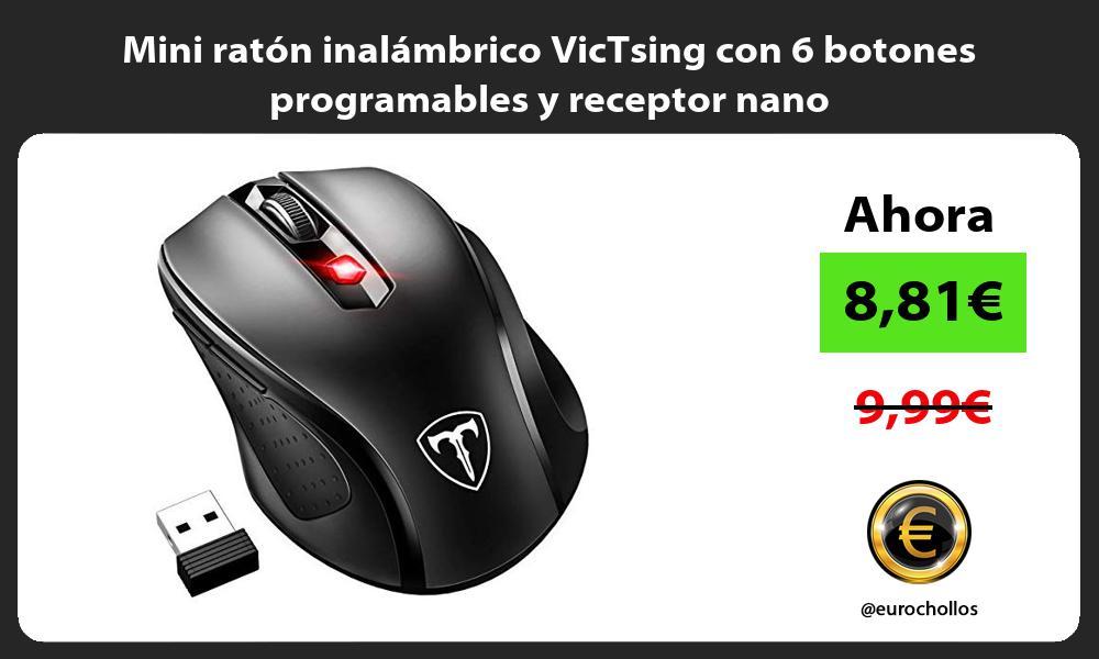 Mini ratón inalámbrico VicTsing con 6 botones programables y receptor nano