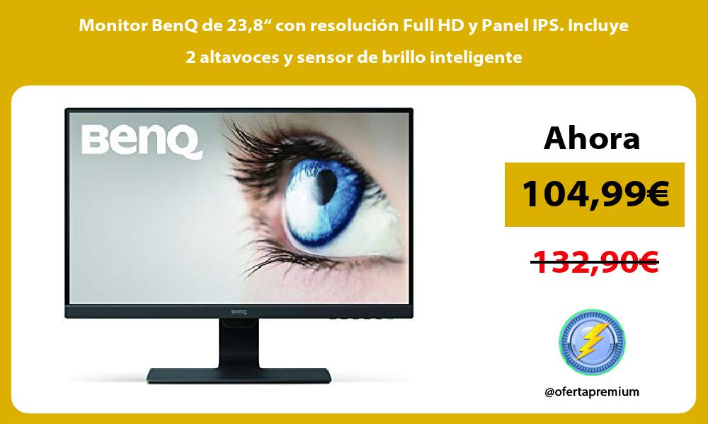 "Monitor BenQ de 238"" con resolución Full HD y Panel IPS Incluye 2 altavoces y sensor de brillo inteligente"