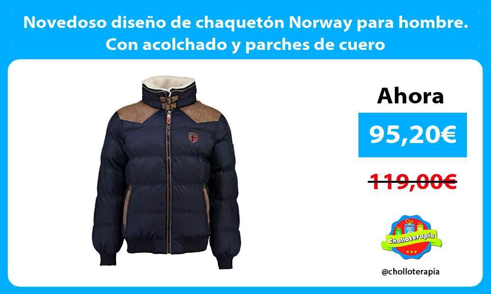 Novedoso diseño de chaquetón Norway para hombre Con acolchado y parches de cuero