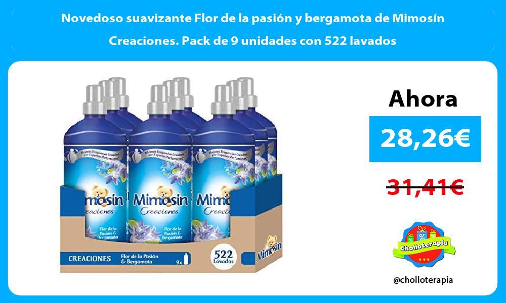 Novedoso suavizante Flor de la pasión y bergamota de Mimosín Creaciones Pack de 9 unidades con 522 lavados