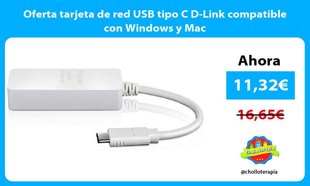 Oferta tarjeta de red USB tipo C D Link compatible con Windows y Mac