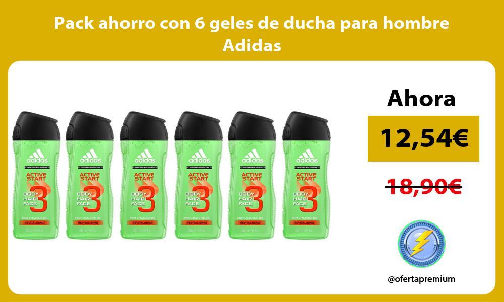Pack ahorro con 6 geles de ducha para hombre Adidas