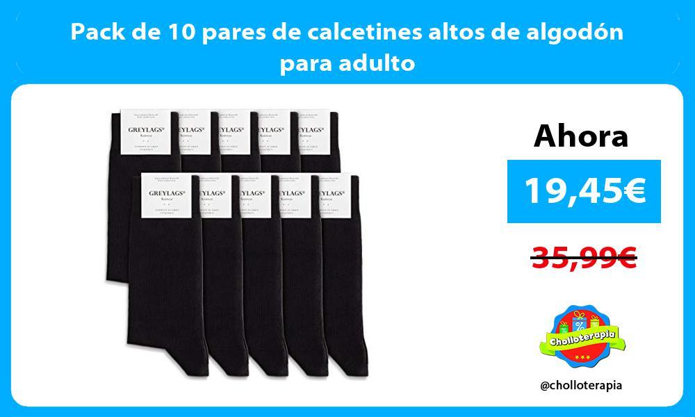 Pack de 10 pares de calcetines altos de algodón para adulto