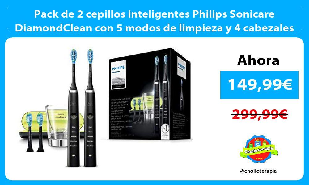 Pack de 2 cepillos inteligentes Philips Sonicare DiamondClean con 5 modos de limpieza y 4 cabezales