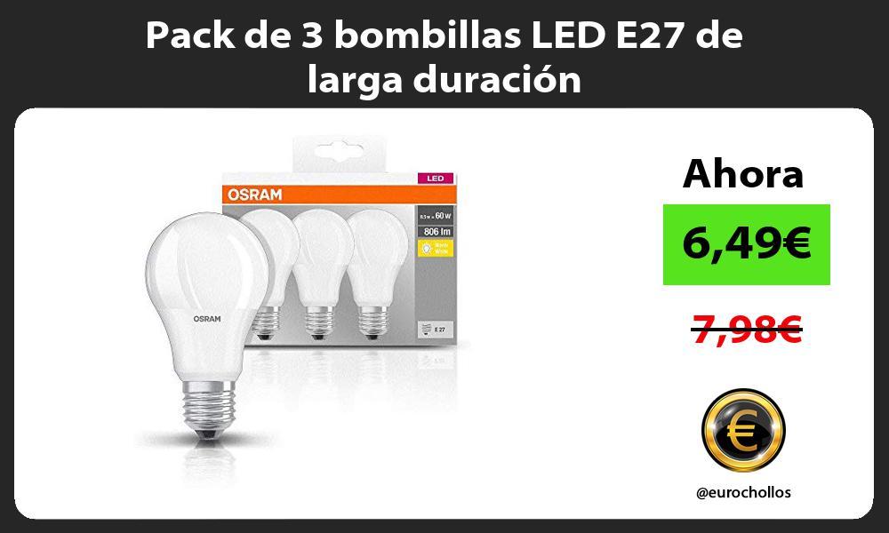 Pack de 3 bombillas LED E27 de larga duración