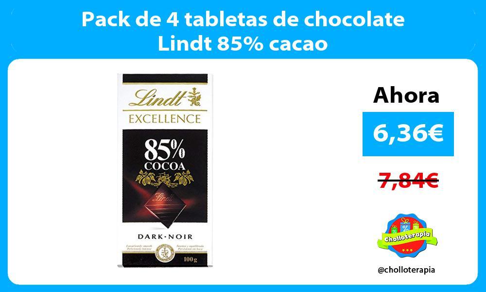 Pack de 4 tabletas de chocolate Lindt 85 cacao