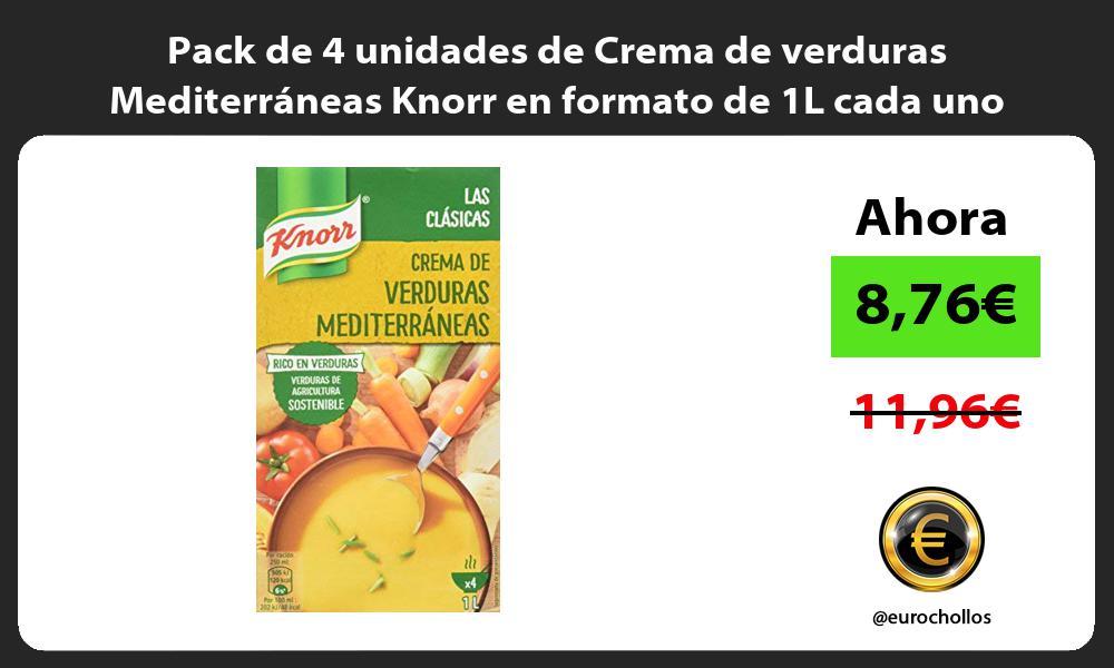 Pack de 4 unidades de Crema de verduras Mediterráneas Knorr en formato de 1L cada uno