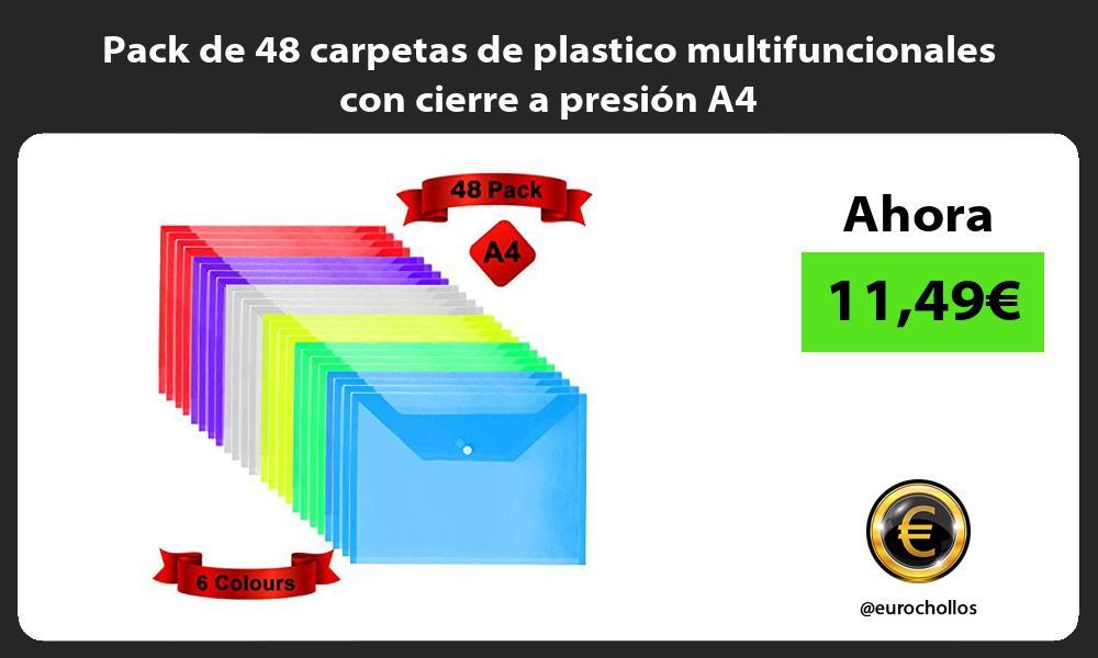 Pack de 48 carpetas de plastico multifuncionales con cierre a presión A4