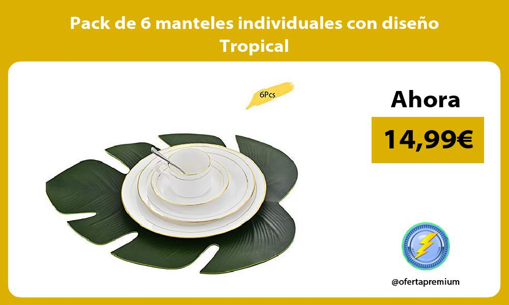Pack de 6 manteles individuales con diseño Tropical