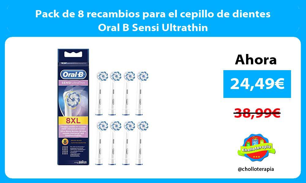 Pack de 8 recambios para el cepillo de dientes Oral B Sensi Ultrathin