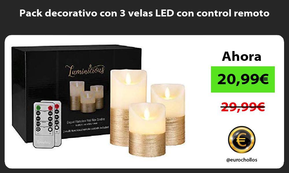 Pack decorativo con 3 velas LED con control remoto