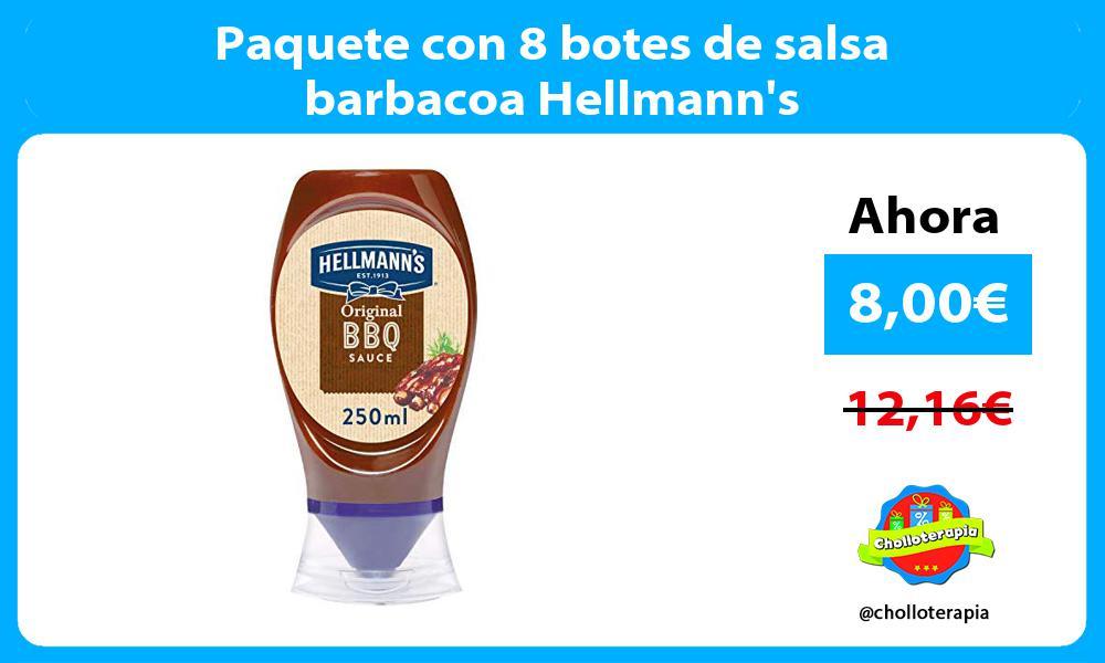Paquete con 8 botes de salsa barbacoa Hellmanns