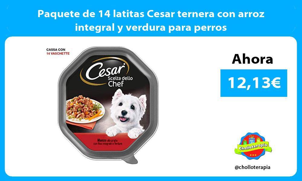 Paquete de 14 latitas Cesar ternera con arroz integral y verdura para perros