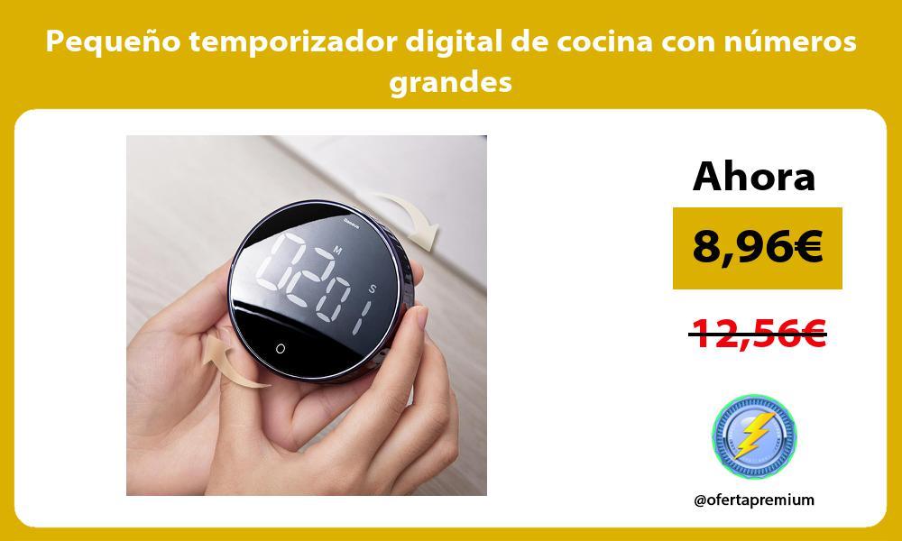 Pequeño temporizador digital de cocina con números grandes