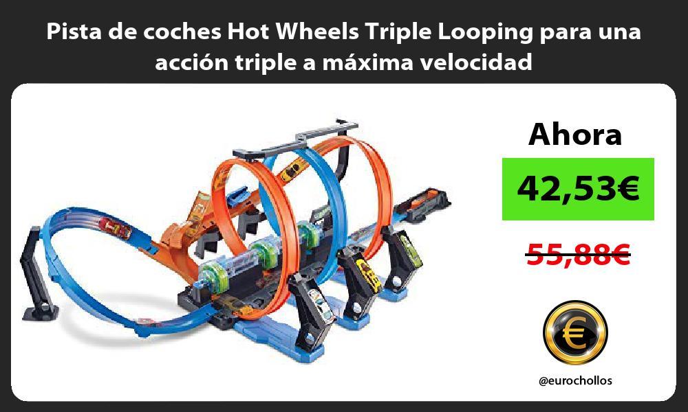 Pista de coches Hot Wheels Triple Looping para una acción triple a máxima velocidad
