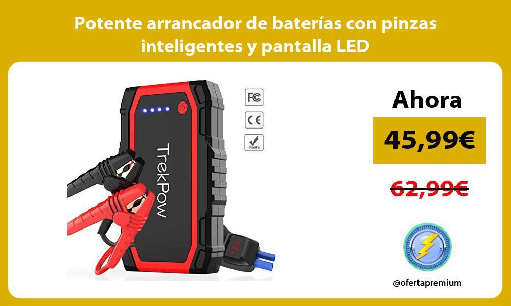Potente arrancador de baterías con pinzas inteligentes y pantalla LED