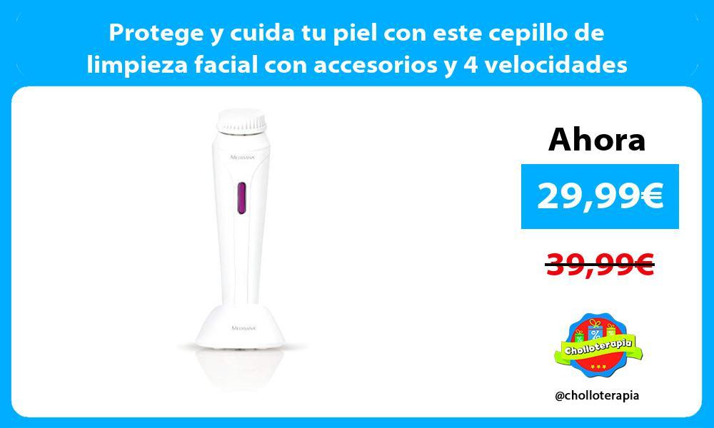 Protege y cuida tu piel con este cepillo de limpieza facial con accesorios y 4 velocidades