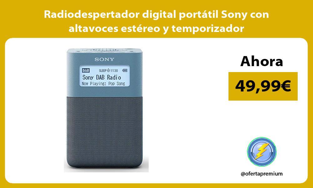 Radiodespertador digital portátil Sony con altavoces estéreo y temporizador