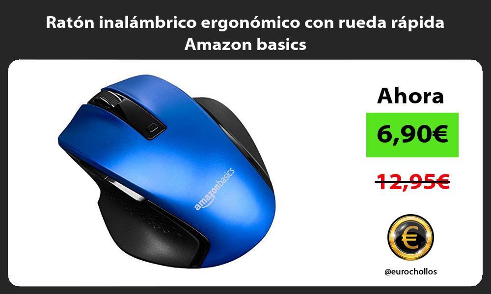 Ratón inalámbrico ergonómico con rueda rápida Amazon basics
