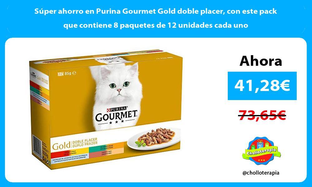Súper ahorro en Purina Gourmet Gold doble placer con este pack que contiene 8 paquetes de 12 unidades cada uno