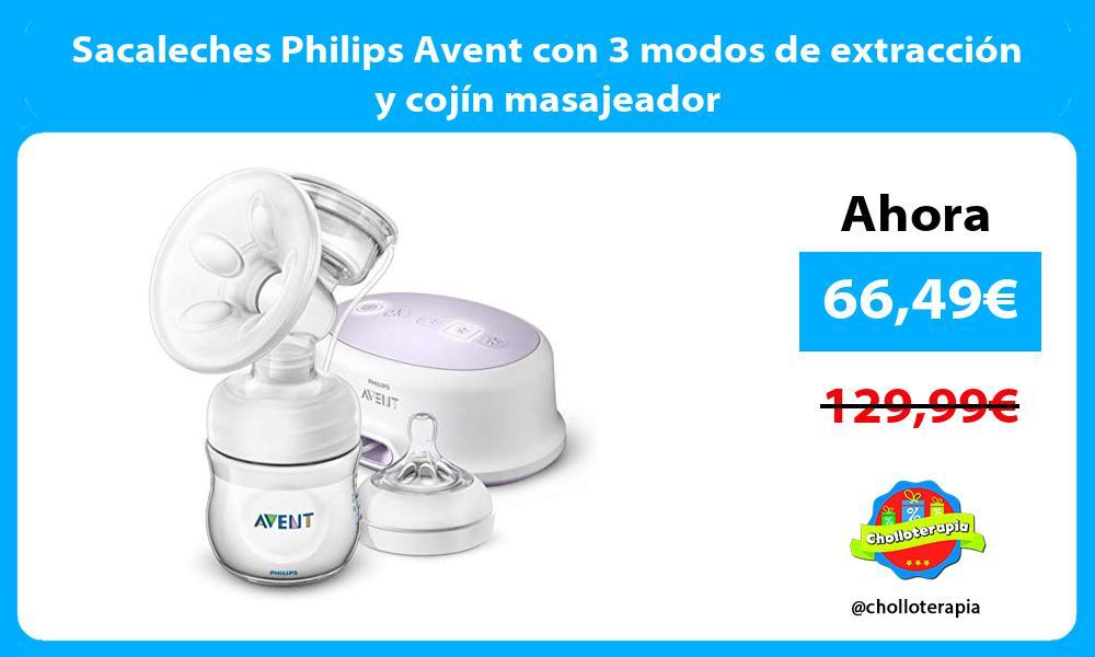Sacaleches Philips Avent con 3 modos de extracción y cojín masajeador