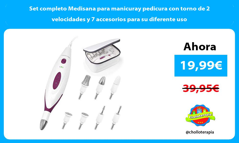 Set completo Medisana para manicuray pedicura con torno de 2 velocidades y 7 accesorios para su diferente uso