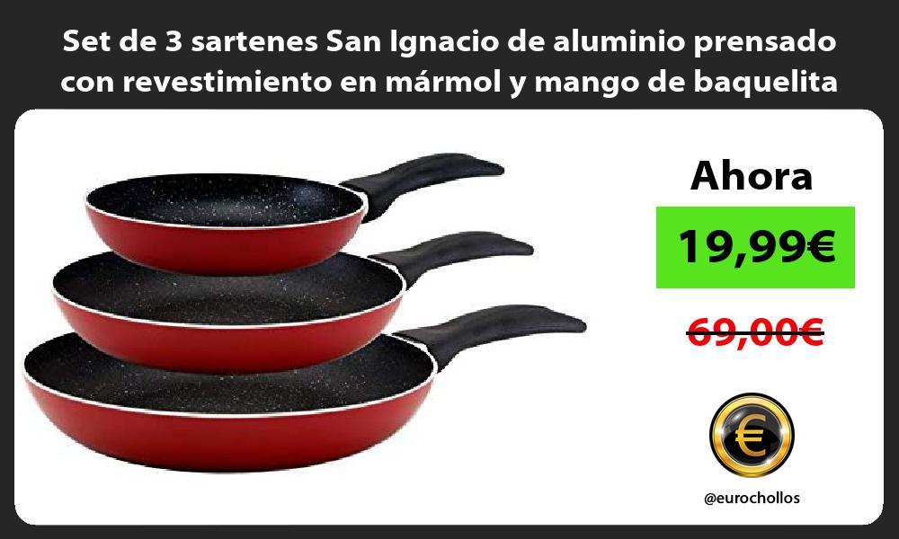 Set de 3 sartenes San Ignacio de aluminio prensado con revestimiento en mármol y mango de baquelita