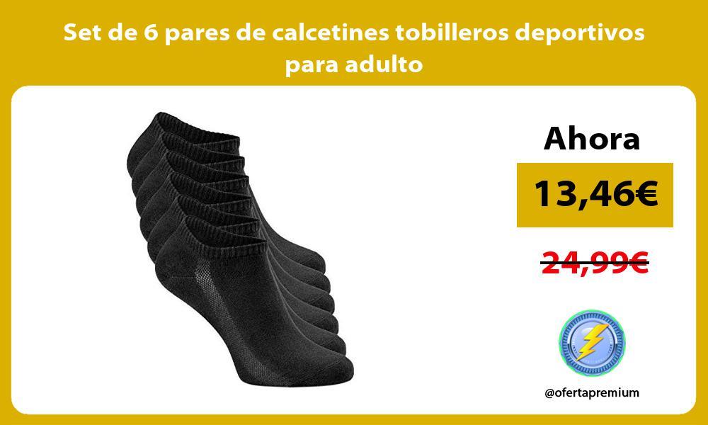 Set de 6 pares de calcetines tobilleros deportivos para adulto