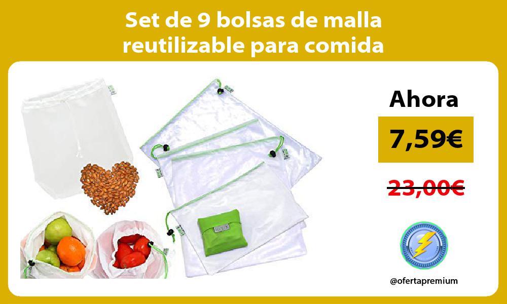 Set de 9 bolsas de malla reutilizable para comida