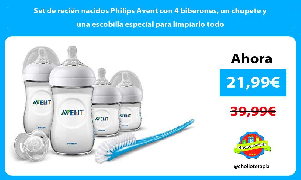 Set de recién nacidos Philips Avent con 4 biberones un chupete y una escobilla especial para limpiarlo todo