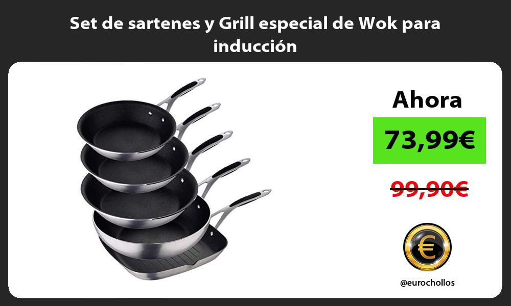 Set de sartenes y Grill especial de Wok para inducción