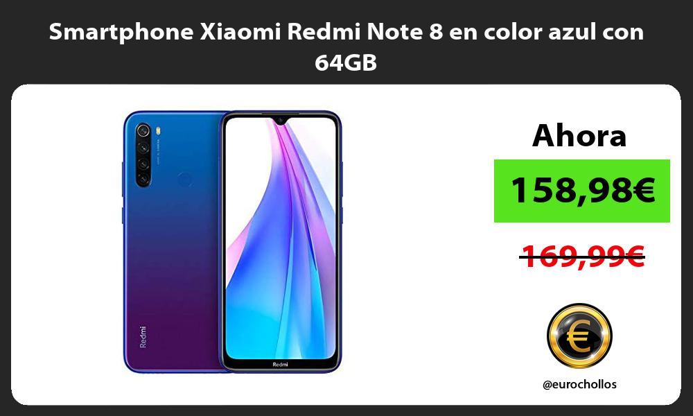 Smartphone Xiaomi Redmi Note 8 en color azul con 64GB