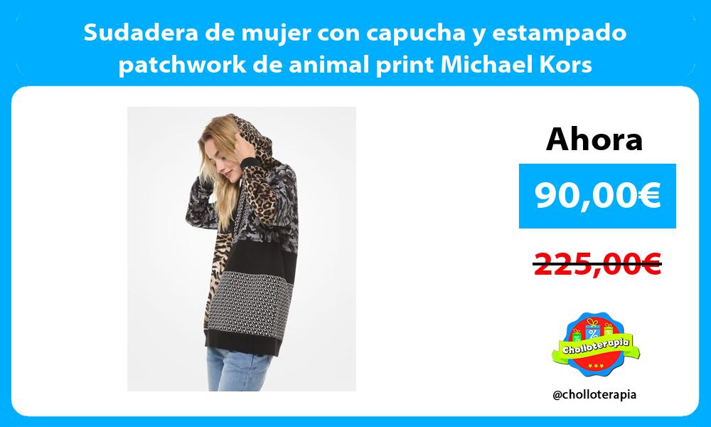 Sudadera de mujer con capucha y estampado patchwork de animal print Michael Kors