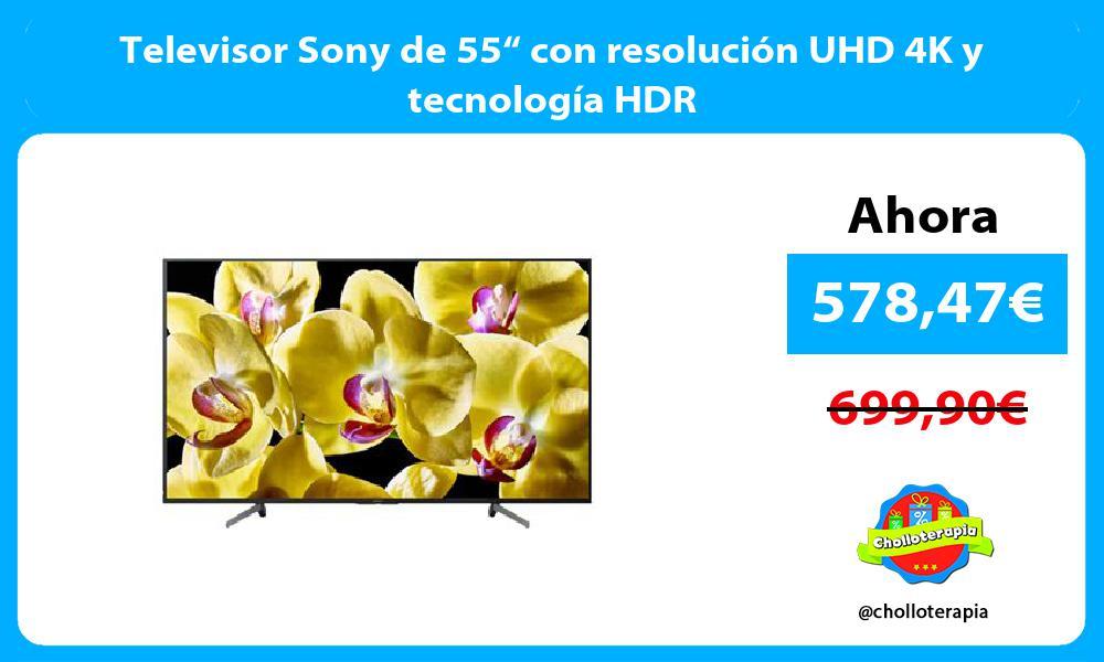"""Televisor Sony de 55"""" con resolución UHD 4K y tecnología HDR"""