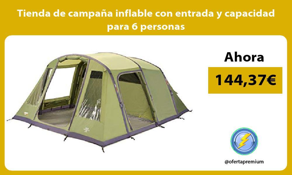 Tienda de campaña inflable con entrada y capacidad para 6 personas