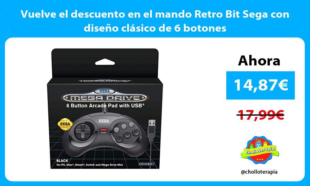 Vuelve el descuento en el mando Retro Bit Sega con diseño clásico de 6 botones