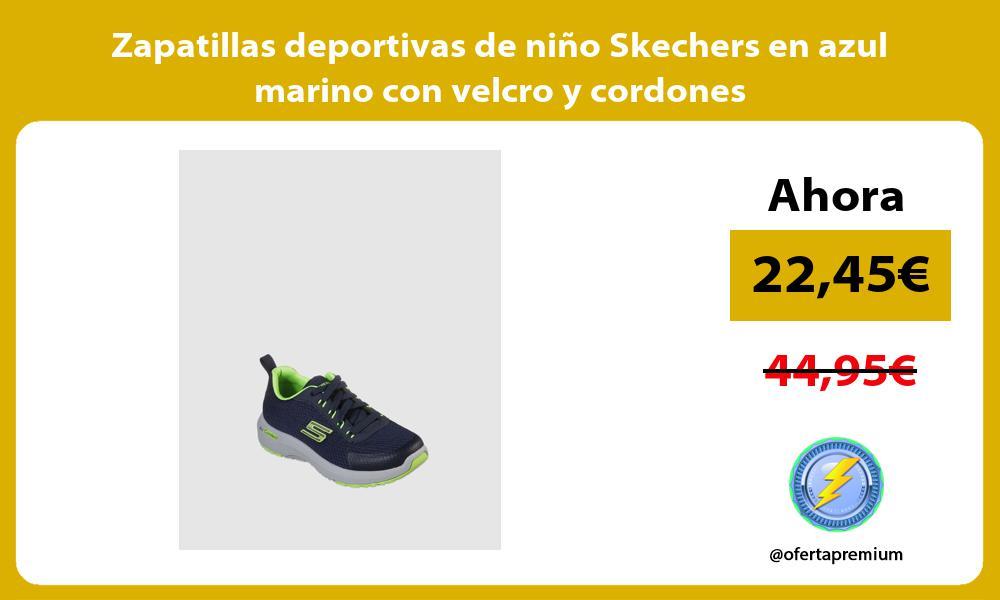 Zapatillas deportivas de niño Skechers en azul marino con velcro y cordones