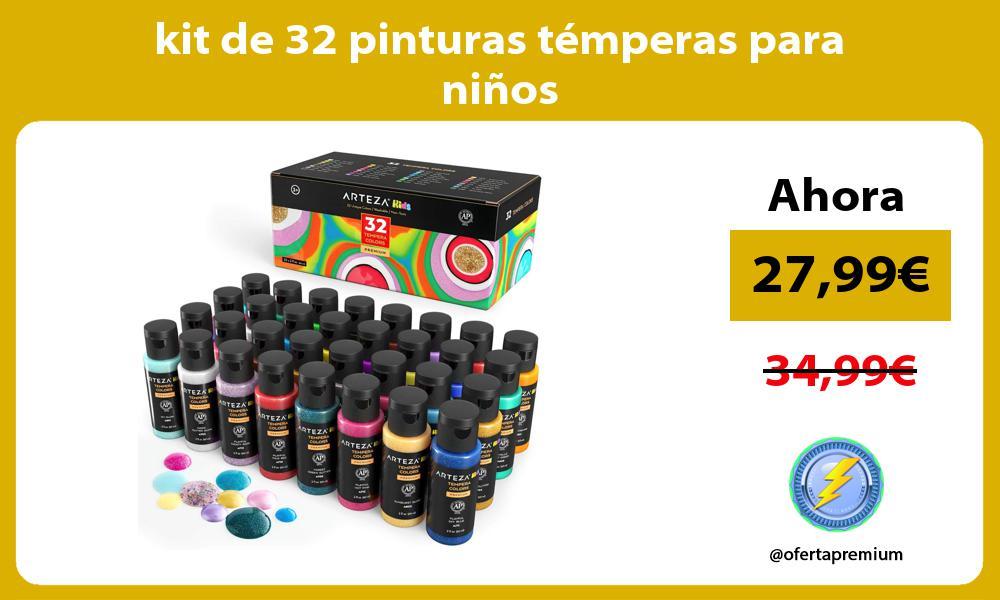 kit de 32 pinturas témperas para niños