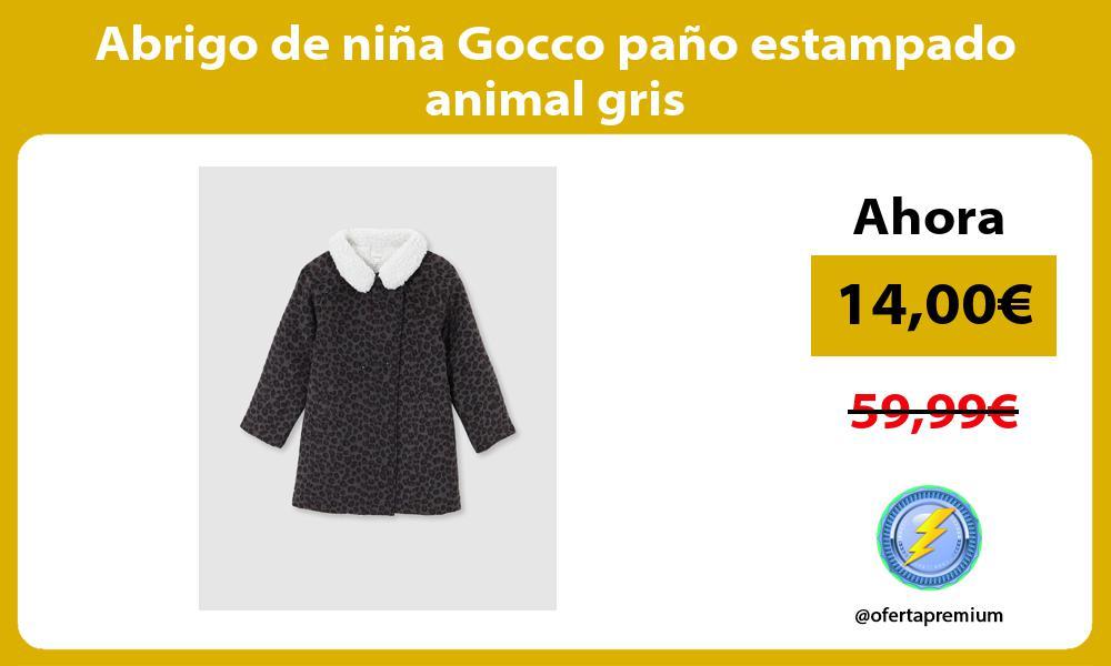 Abrigo de niña Gocco paño estampado animal gris