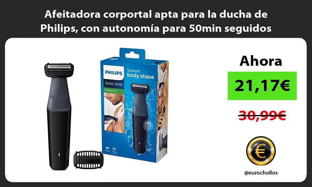 Afeitadora corportal apta para la ducha de Philips con autonomía para 50min seguidos