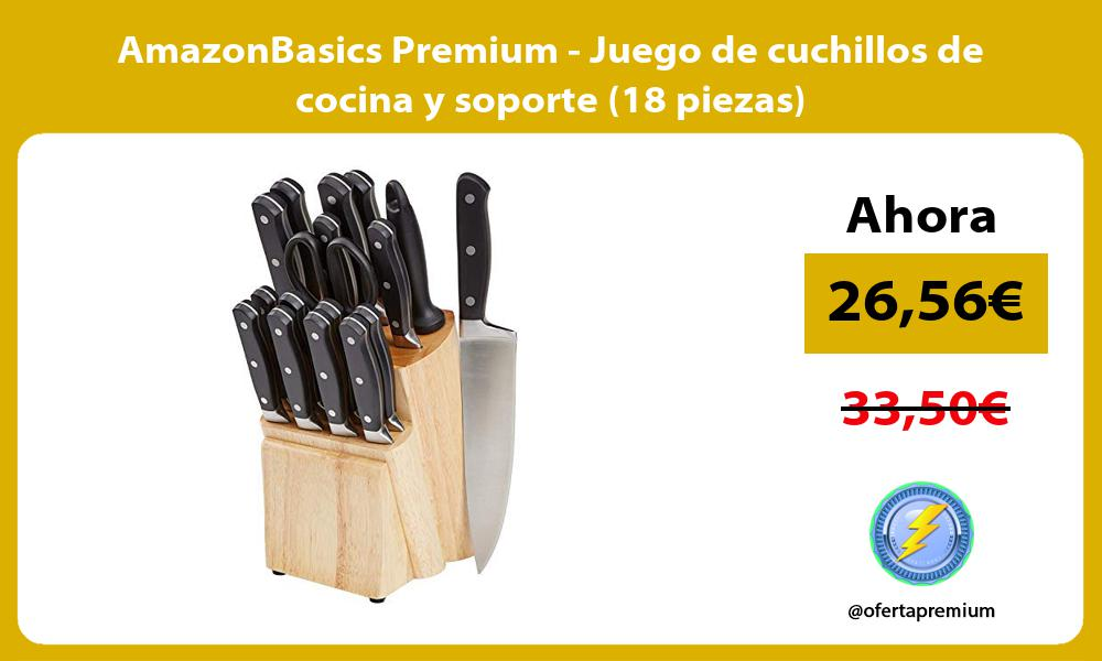 AmazonBasics Premium Juego de cuchillos de cocina y soporte 18 piezas