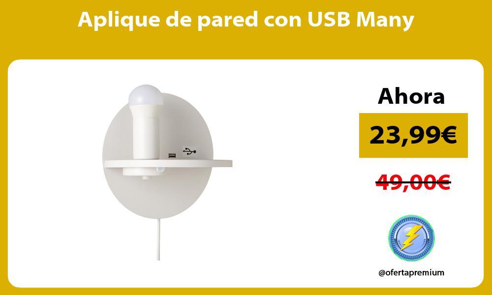 Aplique de pared con USB Many