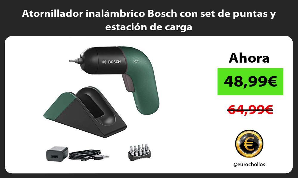 Atornillador inalámbrico Bosch con set de puntas y estación de carga