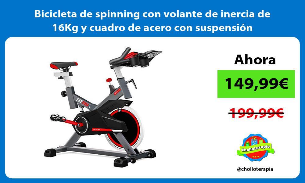 Bicicleta de spinning con volante de inercia de 16Kg y cuadro de acero con suspensión