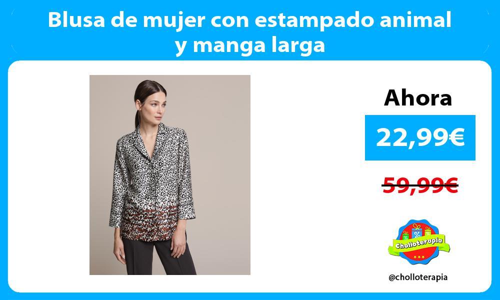 Blusa de mujer con estampado animal y manga larga