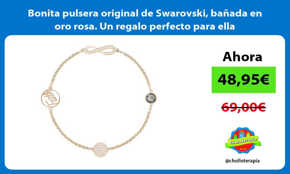 Bonita pulsera original de Swarovski bañada en oro rosa Un regalo perfecto para ella
