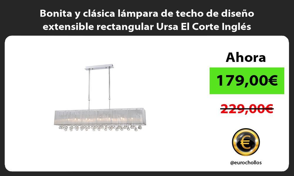 Bonita y clásica lámpara de techo de diseño extensible rectangular Ursa El Corte Inglés