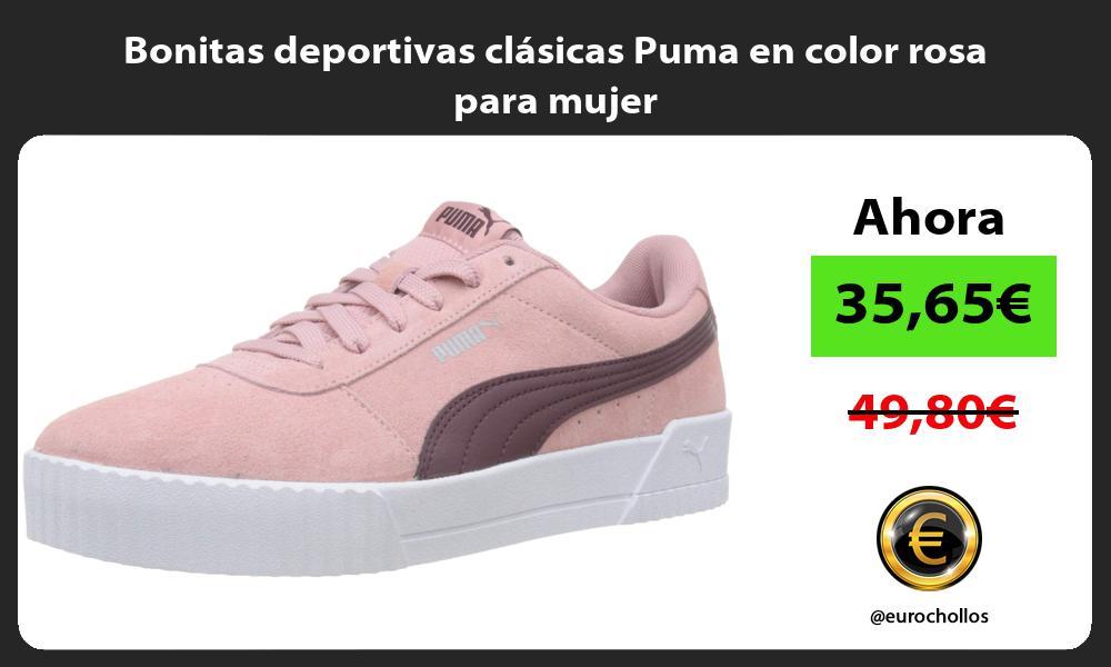 Bonitas deportivas clásicas Puma en color rosa para mujer